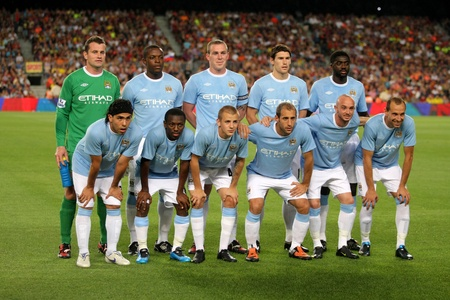 Manchester City Team before the Trophy Joan Gampers match between FC Barcelona and Manchester City at Nou Camp Stadium in Barcelona, Spain. August 19, 2009