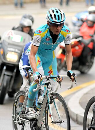 Pro Team Astanas cyclist Russian Evgeni Petrov rides with the pack during the Tour of Catalonia cycling race in Barcelona on March 27, 2011