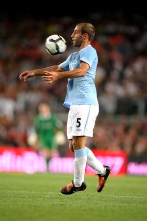 pablo: Difensore argentino del Manchester City Pablo Zabaleta durante il match 44 � Trofeo Joan Gamper tra Barcellona e Manchester City presso stadio Camp Nou di Barcellona. 19 Agosto 2009 Editoriali