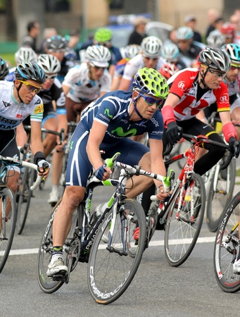 Movistar Teams cyclist Jose Joaquin Rojas rides with the pack during the Tour of Catalonia cycling race in Barcelona on March 27, 2011