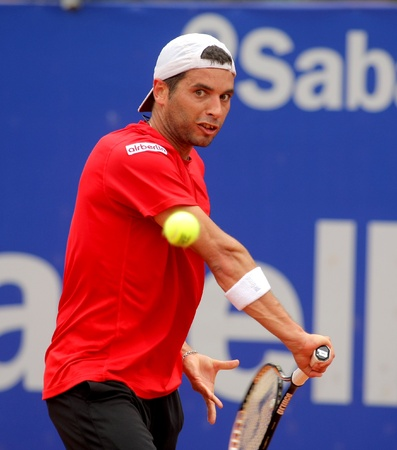conde: Spanish tennis player Albert Montañes in action during his match against Benoit Paire of Barcelona tennis tournament Conde de Godo on April 20, 2011 in Barcelona