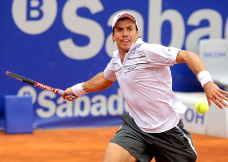 Argentinian tennis player Carlos Berlocq in action during the first round match of the Barcelona tennis tournament Conde de Godo on April 20, 2011 in Barcelona