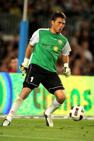 Diego Alves of Almeria in action during the match between FC Barcelona and UD Almeria at the Nou Camp Stadium on April 9, 2011 in Barcelona, Spain