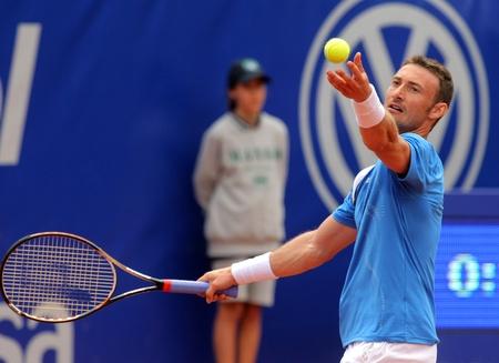 ferrero: Spanish tennis player Juan Carlos Ferrero in action during his match against Xavier Malisse of Barcelona tennis tournament Conde de Godo on April 19, 2011 in Barcelona