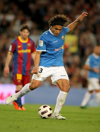 silva: Marcelo Silva of Almeria in action during the match between FC Barcelona and UD Almeria at the Nou Camp Stadium on April 9, 2011 in Barcelona, Spain