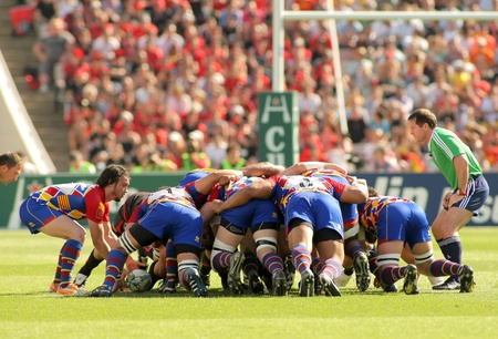 USAP Perpignan players scrumming during the Heineken European Cup quarter-final match USAP Perpignan against RC Toulon at the Olympic Stadium in Barcelona, on April 9, 2011