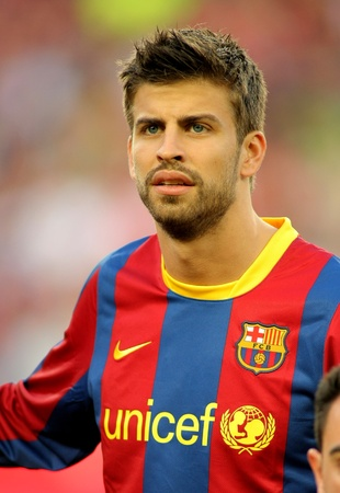 Gerard Pique of Barcelona before the match between FC Barcelona and UD Almeria at the Nou Camp Stadium on April 9, 2011 in Barcelona, Spain
