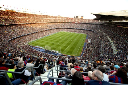 FC Barcelona stadium, Camp Nou, during the match between FC Barcelona and RCD Espanyol at the Nou Camp Stadium on May 8, 2011 in Barcelona, Spain Stock Photo - 9684191