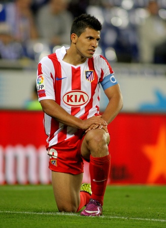 Kun Agüero of Atletico Madrid in action during a Spanish League match between Espanyol and Atletico Madrid at the Estadi Cornella on April 17, 2011 in Barcelona, Spain Stock Photo - 9684187