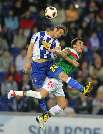 Ivan Alonso(L) of Espanyol fight with Castillo(R) of Bilbao during a Spanish League match between Espanyol and Athletic Bilbao at the Estadi Cornella on May 2, 2011 in Barcelona, Spain