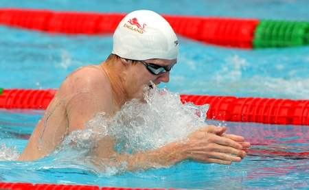 British swimmer Andrew Willis swimming breakstroke during the Mare Nostrum meeting in Barcelonas Sant Andreu club, June 5, 2011 in Barcelona, Spain