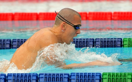 Hungarian World champion Laszlo Cseh swims breaststroke during the Mare Nostrum meeting in Barcelonas Sant Andreu club, June 5, 2011 in Barcelona, Spain