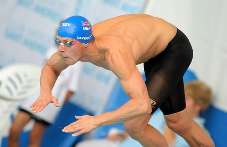 medalist: British World Sub-Champion Ross Davenport starting a competition during the Mare Nostrum meeting in Barcelonas Sant Andreu club, June 5, 2011 in Barcelona, Spain