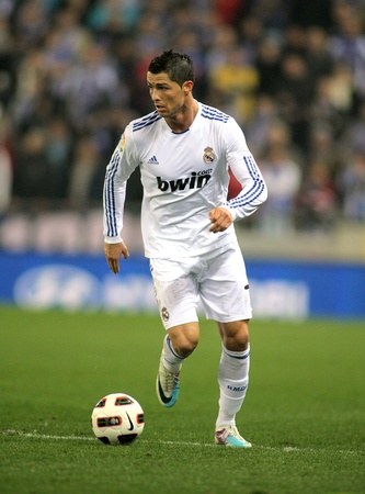 winger: Cristiano Ronaldo of Real Madrid during a spanish league match between Espanyol and Real Madrid at the Estadi Cornella on February 13, 2011 in Barcelona, Spain