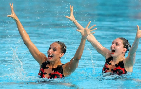 British synchro swimmers Jenna Randall and Olivia Allison in a Duet exercise during the Espana Sincro meeting in Barcelona Picornell Swimpool, June 18, 2011 in Barcelona, Spain