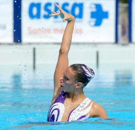 British synchro swimmer Jenna Randall in a Solo Free Rutine during the Espana Sincro meeting in Barcelona Picornell Swimpool, June 19, 2011 in Barcelona, Spain