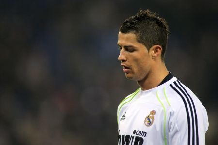Cristiano Ronaldo of Real Madrid during a spanish league match between Espanyol and Real Madrid at the Estadi Cornella on February 13, 2011 in Barcelona, Spain Stock Photo - 10006450