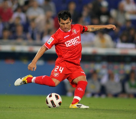 Gary Medel of Sevilla in action during a spanish league match between RCD Espanyol and Sevilla, FC at the Estadi Cornella on May 21, 2011 in Barcelona, Spain