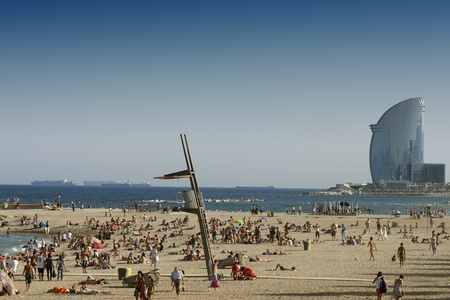 Barcelona beaches crowded of people on summertime on La Barceloneta, July 10, 2011 in Barcelona, Spain Stock Photo - 10008005