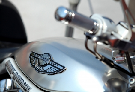 Harley-Davidson logo is displayed on a motorcycle during the Barcelona Harley Days event on the city streets, July 9, 2011 in Barcelona, Spain