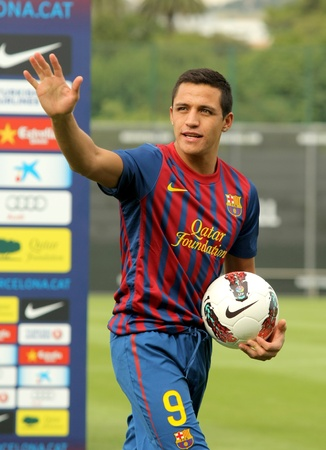 Chilean footballer Alexis Sanchez during his presentation as new the FC Barcelona player in FC Barcelona Sportive City in Barcelona, on July 25, 2011
