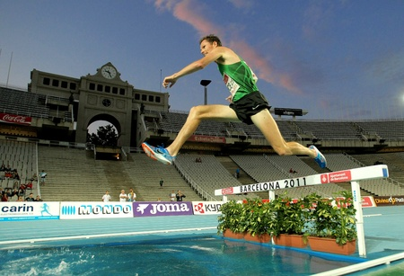 steeplechase: Ben Bruce of USA in action on 3000m steeplechase Event of Barcelona Athletics meeting at the Olympic Stadium on July 22, 2011 in Barcelona, Spain