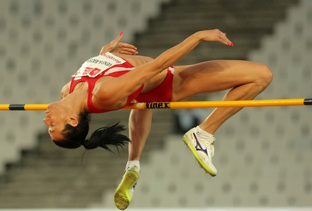 Venelina Veneva-Mateeva of Bulgaria in action during High Jump Event of Barcelona Athletics meeting at the Olympic Stadium on July 22, 2011 in Barcelona, Spain
