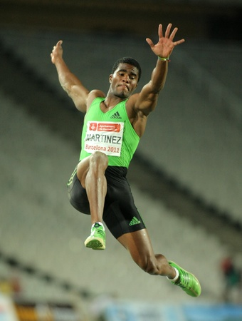 martinez: Wilfredo Martinez of Cuba in action on Long Jump Event of Barcelona Athletics meeting at the Olympic Stadium on July 22, 2011 in Barcelona, Spain