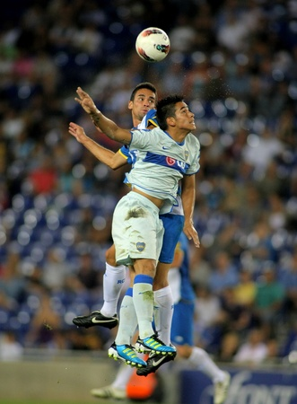 sergio: Sergio Ezequiel Araujo of Boca Juniors in action during a friendly match against RCD Espanyol at the Estadi Cornella on July 28, 2011 in Barcelona, Spain Editorial