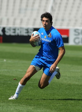 european championship: Leonardo Sarto of Italy drives the ball during the match of Rugby7 European Championship between Wales and Ukraine at the Olympic Stadium in Barcelona, on July 9, 2011 Editorial