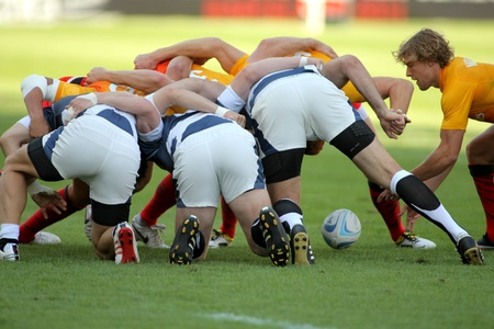 Tom Mitchell of England throws the ball to the scrum during the match of Rugby7 European Championship between England and Georgia  at the Olympic Stadium in Barcelona, on July 9, 2011 Stock Photo - 10230517