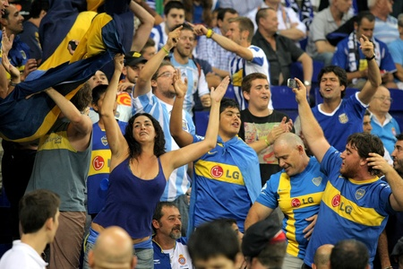 Boca Juniors supporters during a friendly match against RCD Espanyol at the Estadi Cornella on July 28, 2011 in Barcelona, Spain