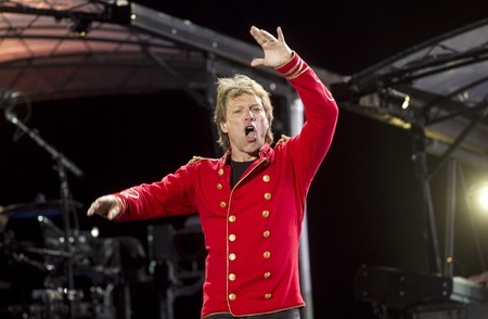 """bon: American Hard Rock Band Bon Jovi performs the """"Open Air 2011″ Tour concert in Barcelona, at the Olympic Stadium on July 27, 2011 in Barcelona, Spain Editorial"""