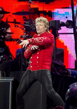 """performs: American Hard Rock Band Bon Jovi performs the """"Open Air 2011″ Tour concert in Barcelona, at the Olympic Stadium on July 27, 2011 in Barcelona, Spain Editorial"""