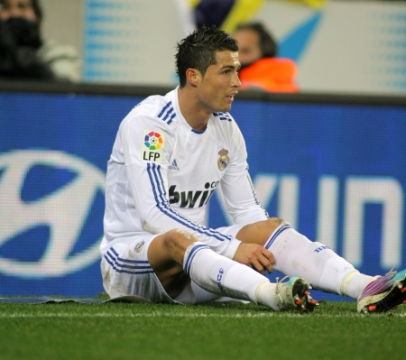 Cristiano Ronaldo of Real Madrid during a spanish league match between Espanyol and Real Madrid at the Estadi Cornella on February 13, 2011 in Barcelona, Spain