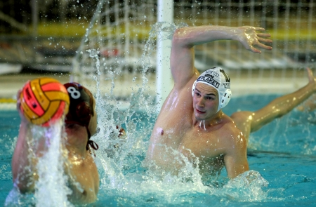 Vasas of Budapest player Denes Varga in  action during a match of Water polo Euroleague Final four 2008 against Pro Recco  at Monjuich swimming pool May 17, 2008 in Barcelona, Spain