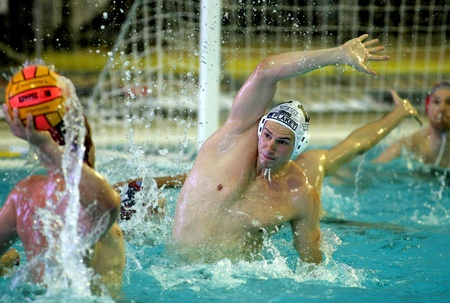 final: Vasas of Budapest player Denes Varga in  action during a match of Water polo Euroleague Final four 2008 against Pro Recco  at Monjuich swimming pool May 17, 2008 in Barcelona, Spain