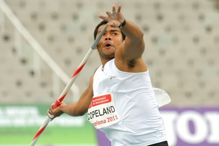 Leslie Copeland of Republic of Fiji during Javelin Throw Event of Barcelona Athletics meeting at the Olympic Stadium on July 22, 2011 in Barcelona, Spain