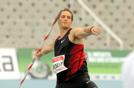 javelin: Vitezslav Vesely of Czech Republic during Javelin Throw Event of Barcelona Athletics meeting at the Olympic Stadium on July 22, 2011 in Barcelona, Spain
