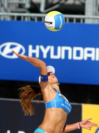 beach volley: Brasilian beach Volley player Ana Paula Connelly in action during a match of the Swatch FIVB Beach Volley World Tour Editorial