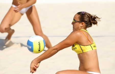 beach volleyball: Spanish beach Volley player Cristina Hopf in action during a match of the Swatch FIVB Beach Volley World Tour
