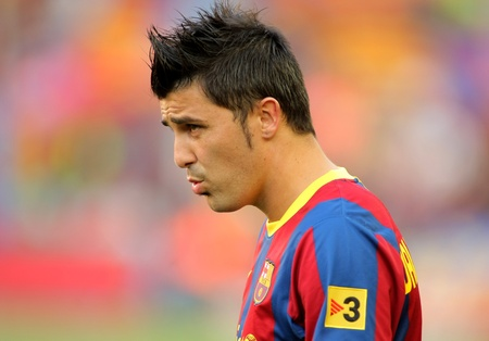 winger: David Villa of FC Barcelona during the match between FC Barcelona and RCD Espanyol at the Nou Camp Stadium on May 8, 2011 in Barcelona, Spain Editorial