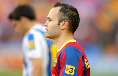 iniesta: Andres Iniesta of FC Barcelona before the match between FC Barcelona and RCD Espanyol at the Nou Camp Stadium on May 8, 2011 in Barcelona, Spain