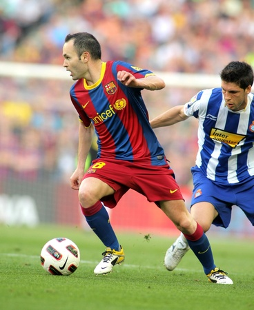 iniesta: Andres Iniesta of FC Barcelona during the match between FC Barcelona and RCD Espanyol at the Nou Camp Stadium on May 8, 2011 in Barcelona, Spain
