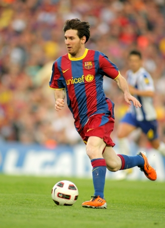 Leo Messi of FC Barcelona during the match between FC Barcelona and RCD Espanyol at the Nou Camp Stadium on May 8, 2011 in Barcelona, Spain