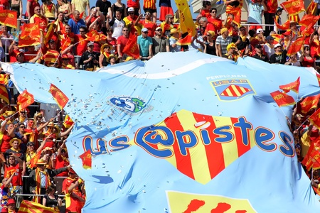 USAP Perpignan supporters during the Heineken European Cup quarter-final match USAP Perpignan against RC Toulon at the Olympic Stadium in Barcelona, on April 9, 2011 Stock Photo - 10591726