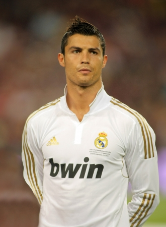 Cristiano Ronaldo of Real Madrid posing before the Spanish Supercup football match between Barcelona vs Real Madrid at the New Camp Stadium in Barcelona, on August 17, 2011