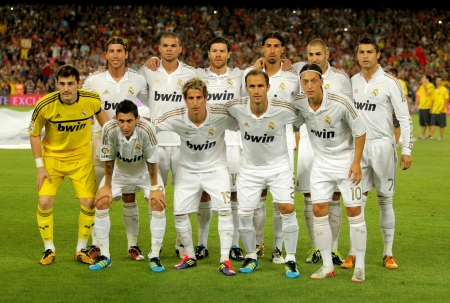 Real Madrid Team posing before the Spanish Supercup football match between Barcelona vs Real Madrid at the New Camp Stadium in Barcelona, on August 17, 2011