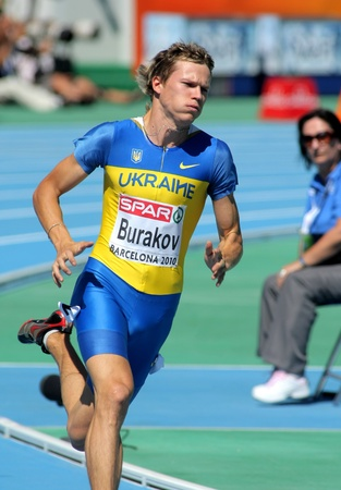 olympic stadium: Volodymyr Burakov of Ukraine compete in the Men 400m during the 20th European Athletics Championships at the Olympic Stadium on July 27, 2010 in Barcelona, Spain.