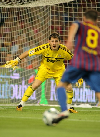 Iker Casillas of Real Madrid in action during the Spanish Supercup football match between Barcelona vs Real Madrid at the New Camp Stadium on August 17, 2011 in Barcelona, Spain